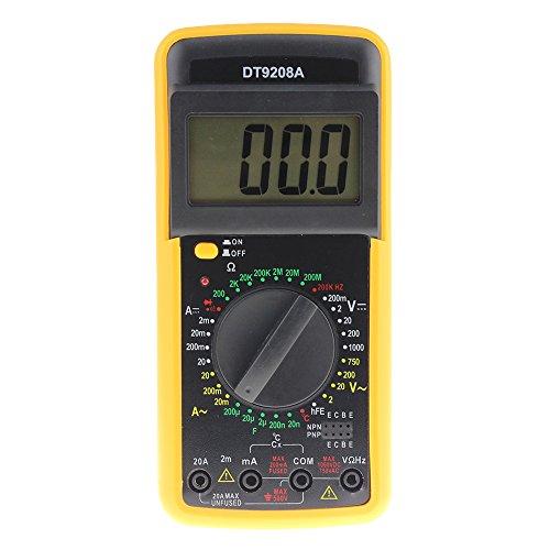 Multímetro de digital LCD AC/DC Voltímetro Resistencia Corriente Ohm Probador Medidor-Fusible F-200mA / 250V-Diodo/Prueba de empalme Transistor P-N/HFE. (Grande)