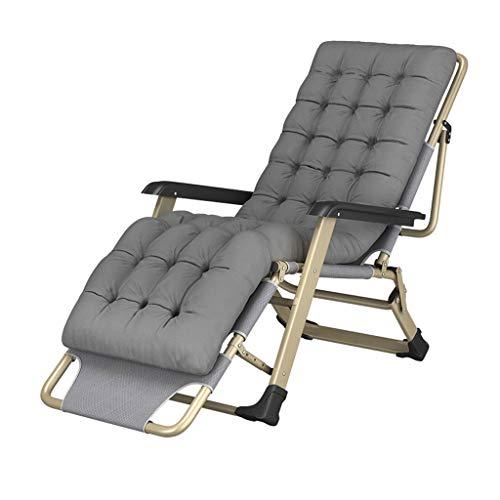 Automne Et Hiver Inclinable Pliant Déjeuner Siesta Lit Maison Dossier Paresseux Portable Multi-fonction Chaise De Plage (Color : Gray, Taille : 178cm)