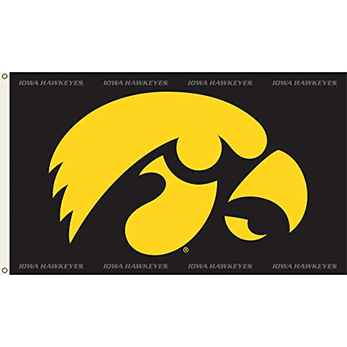 NCAA Iowa Hawkeyes 3-by-5 Foot Flag Hawk Logo with Grommets