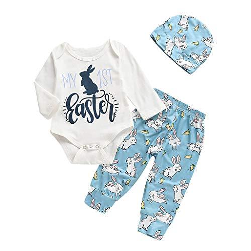 Lazzboy 3M-18M Baby Langarm-Shirt Cartoon Osterhase Outfits Strampler Hut Hose Set(Weiß,Höhe80)