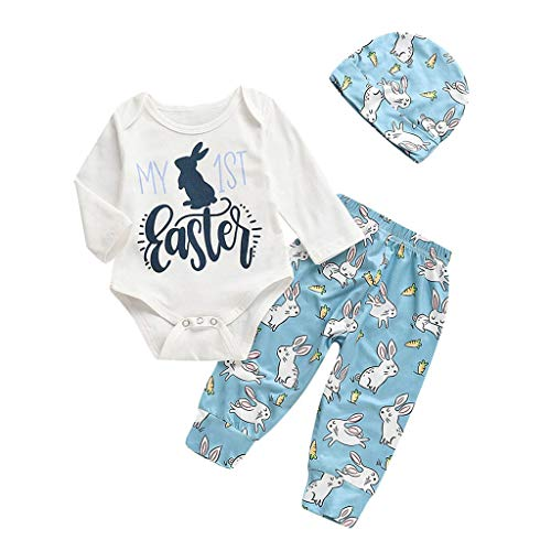 Lazzboy 3M-18M Baby Langarm-Shirt Cartoon Osterhase Outfits Strampler Hut Hose Set(Weiß,Höhe100)