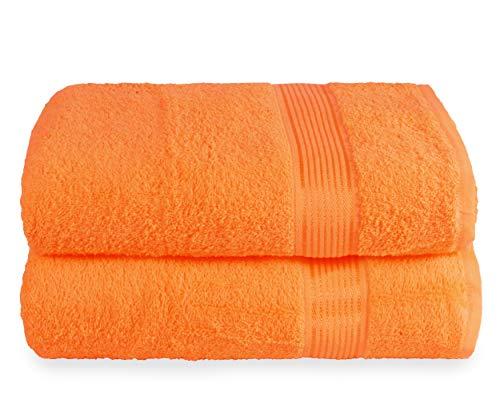 GLAMBURG Lot de 2 Serviettes de Bain surdimensionnées en Coton 70 x 140 cm, Grandes Serviettes de Bain, Ultra absorbantes, compactes à séchage Rapide et léger - Orange
