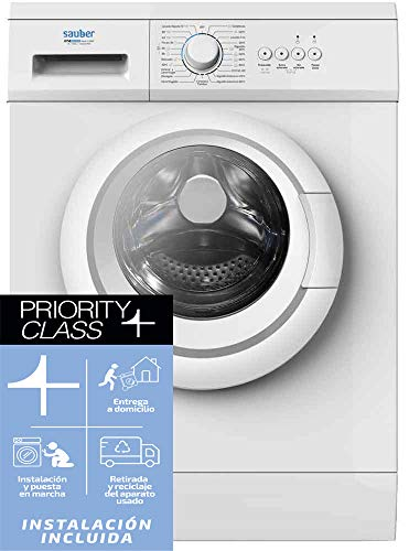 Sauber - Lavadora de carga frontal SERIE 1-6100 - 6 kg - 1000 RPM - E - Color Blanco - INSTALACIÓN INCLUIDA