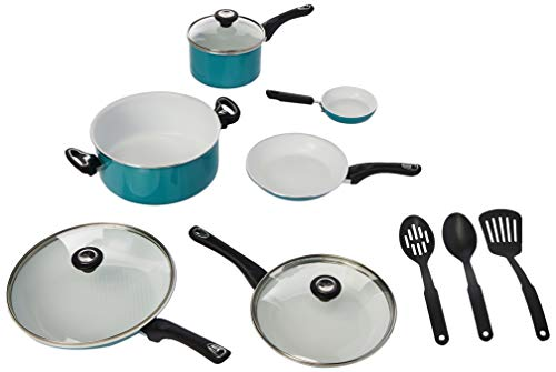 Farberware Ceramic Nonstick Cookware Pots and Pans Set, 12 Piece, Aqua