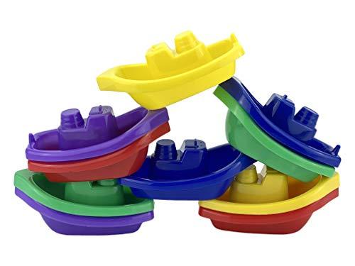HOVUK® 10 x Babyboote Spielzeug-Set und schwimmendes Badeschiff-Spielzeug mit Zeitstapel-Booten, Badewannen-Pool-Spielzeug, Wasserunterhaltung und Spaß-Aktivität geeignet für Kleinkinder