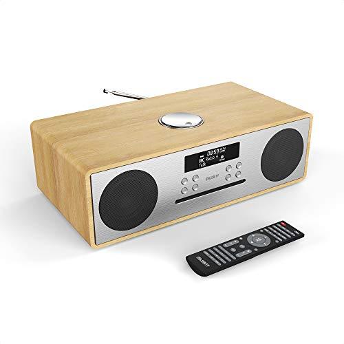 Oakington Radio Digital Dab/Dab+/FM, CD Player Reproductor 30W, Control Remoto, Bluetooth, AUX y USB MP3 Playing and USB Charging, Sistema de Musica (Roble)