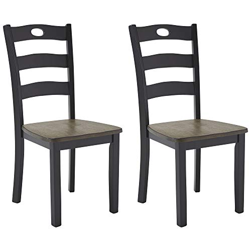 Signature Design by Ashley Froshburg Rustic Farmhouse Ladderback Dining Chair, 2 Count, Dark Brown