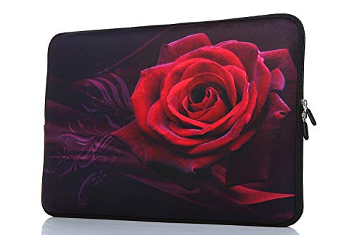 15-15.6 Inch Laptop Sleeve Case Handle Bag Neoprene Cover For Macbook Pro/Macbook Air/Hp/Dell/Lenovo/Thinkpad/Asus/Acer, Rose (Red)