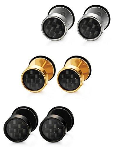 Jstyle Joyería del Acero Inoxidable Pendientes Pequeña Fibra de Carbono con Tres Diversos Colores Negro Amarillo y Blanco Hombres Mujeres