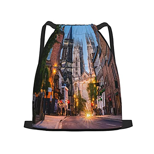 Zaino sportivo con coulisse,York, vista del paesaggio urbano serale dalla, Zaino da palestra per borsa a tracolla da campeggio da viaggio per uomo, donna, bambino.