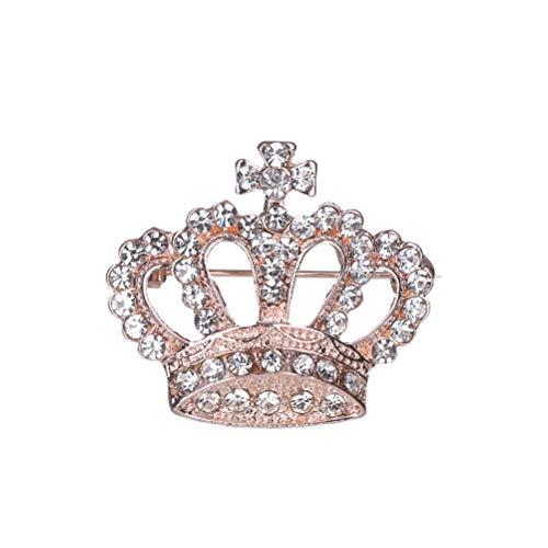 FENICAL Mujeres Corona Broche Cristal Rhinestone Broche Pin Aleación Breastpin Ropa Adorno para Mujeres Damas niñas Nupciales (Oro Rosa)