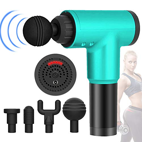 Deep Tissue Percussion Massage Gun with 6 Adjustable Speed 4 Detachable Head, Cordless Handheld Percussion Thera Massager Gun Deep Tissue for Muscles Deep Relaxation (New Green)