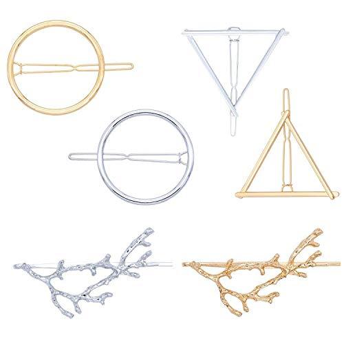 Haar Clips minimalistisch Dainty Haarspangen für Frauen Hohl Geometrische Metall Hair Pins Mädchen Haar Zubehör Klemmen Baum Zweige, Kreis, Dreieck Design (6pcs)