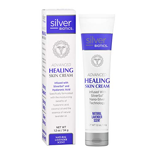 American Biotech Labs - Silver Biotics - Advanced Healing Skin Cream - Infused with SilverSol and Hyaluronic Acid - Natural Lavender Scent - 1.2 oz.
