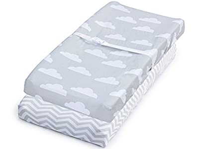Sheets, 2 Pack Clouds/Chevron Fitted Soft Jersey Cotton Playpen Bedding
