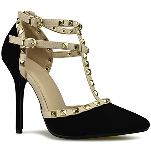 Premier Standard - Women's Pointed Toe Studded Strappy High Heel Leather Pumps Stilettos...