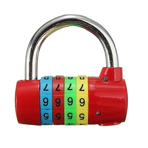 Door Lock Diary Suitcase Code Security Lock 4 Digit Resettable Combination Padlock Travel Luggage Bag Sash Window Locks (Color : Red)