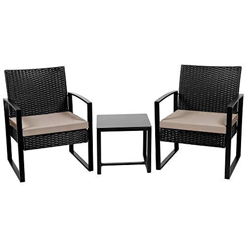 Yaheetech 3 Piece Rattan Garden Furniture Set 3 PCS Patio Table Sofa Chair Wicker Dining Table Set Indoor Outdoor Black