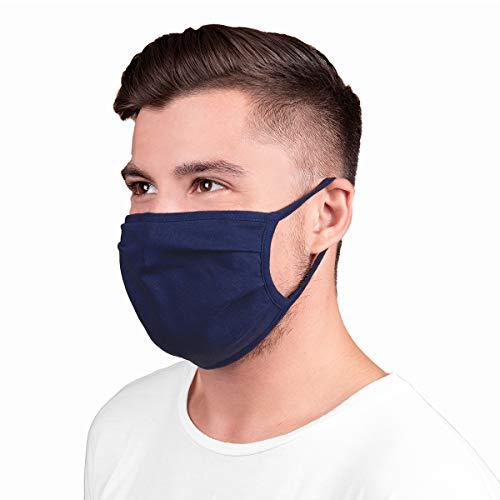 5 Stück Gesichtsbedeckung Mundschutz Prävention gegen Spritz-/ Tröpfchenkontakt im Mund und Nasenbereich Baumwolle atmungsaktiv wiederverwendbar waschbar (blau 2)