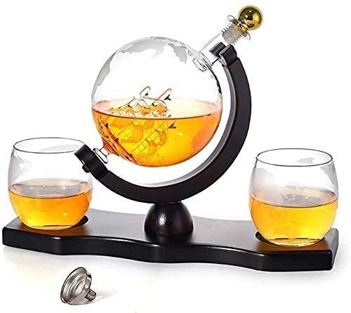 Set de whisky Decanter Set Whiskey Decanter Subido, dispensador de alcohol de 900 ml con 2 gafas, base de pino, cobertizo de cobertura y grifo de acero inoxidable, regalo para papá, marido o novio