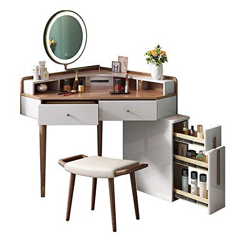 LLFFDC dressoir tafel met kruk en LED licht spiegel, hoek dressoir tafel hout met USB opladen poort, slaapkamer moderne multifunctionele make-up bureau