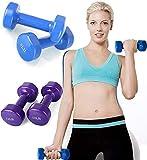 ML Pack de 2 Pesas Ejercicio Fitness en casa Pesas Neopreno, Set de Mancuernas de Neopreno 1kg de Calidad Profesional