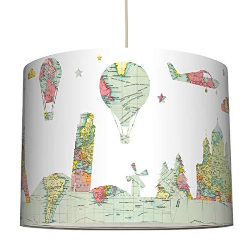 anna wand Hängelampe Hello World Mehrfarbig – Lampenschirm für Kinder/Baby Lampe mit Weltkartendesign – Sanftes Kinderzimmer Licht Mädchen & Junge – ø 40 x 30 cm