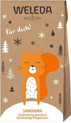 WELEDA Nikolaus und Wichtel Set Sanddorn 2020 - Naturkosmetik Geschenkset bestehend aus Sanddorn Vitalisierungs-Dusche (20 ml) & Pflegelotion (20 ml) in einem ansprechenden Geschenktütchen