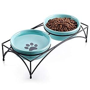 Y YHY Cuenco de cerámica para mascotas, poco profundo y ancho para alimentos o agua, regalo para gato, plato de gato, 355ML 12 onzas 6