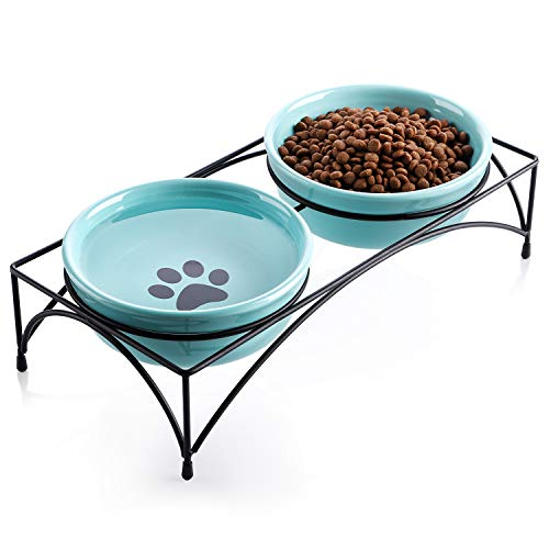 Y YHY Cat Bowls Elevated, Cat Food Water Bowls, Raised Pet Bowls for Indoor Cats or Dogs, Protect Cat's Spine, Ceramic Cat Dishes 12 Ounces , Whisker Fatigue, Paw Print Pattern, Blue
