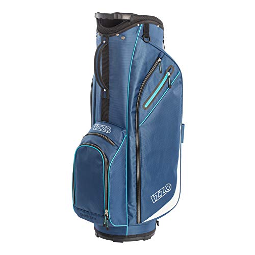 Izzo Golf Izzo Ultra-Lite Cart Golf Bag With Single Strap & Exclusive Features, Navy Blue/Light Blue