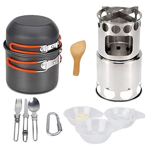 Conjuntos de utensilios de cocina al aire libre y al aire libre Pan Madera Estufa Senderismo Utensilios de cocina Cocinar Picnic Bowl Pot Pan Set Camp COCKEWLEWAe Set de vajillas al aire libre