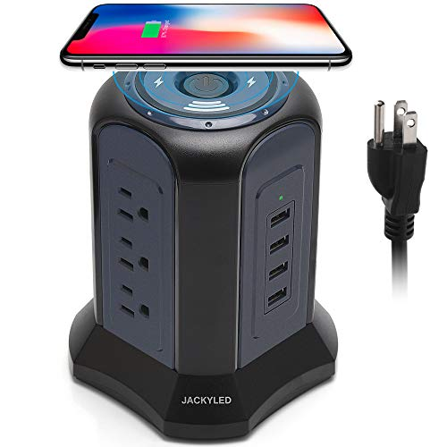 10ft Power Strip Tower, Wireless Charging Station, JACKYLED Surge Protector 4.5A 4 USB Ports 10A 9 AC Outlets, Universal Socket for Computers, Office Equipment, Home Theater, Appliances, Black Blue