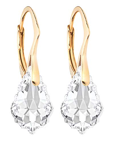 Ah! Jewellery Clear Baroque Crystals By Swarovski Earrings Finished With 24K Gold Over Sterling Silver, Stamped 925.