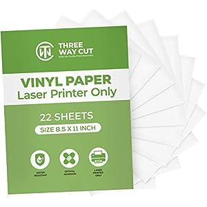 Printable Vinyl Sticker Paper Matte for Laser Printer 22 Sheets White, Decal Paper Tear & Scratch Resistant ,Cricut Sticker Paper for Making Labels & Crafts (22)