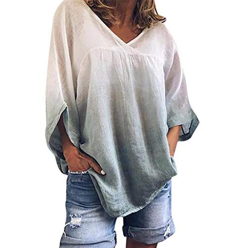 New NANTE Top Loose Women's Blouse Bat Sleeve Tie Dyeing T Shirt Long Sleeve V Neck Tops Ladies Clot...