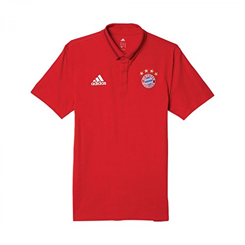 adidas FCB Anth - Polo FC Bayern para Hombre, Color Rojo/Blanco/Negro, Talla XS