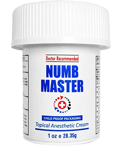 Numb Master 5% Lidocaine Topical Numbing Cream, Maximum Strength Long-Lasting Pain Relief Cream, Fast Acting Topical Anesthetic Cream with Aloe Vera, Vitamin E, Lecithin with Child Resistant Cap, 1oz