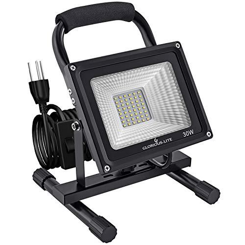 GLORIOUS-LITE 30W LED Work Light, 3000LM Super Bright Flood Lights, 240W Equivalent, IP66 Waterproof, 16ft/5m Cord with Plug, 6500K, Adjustable Working Lights for Workshop, Garage, Construction Site
