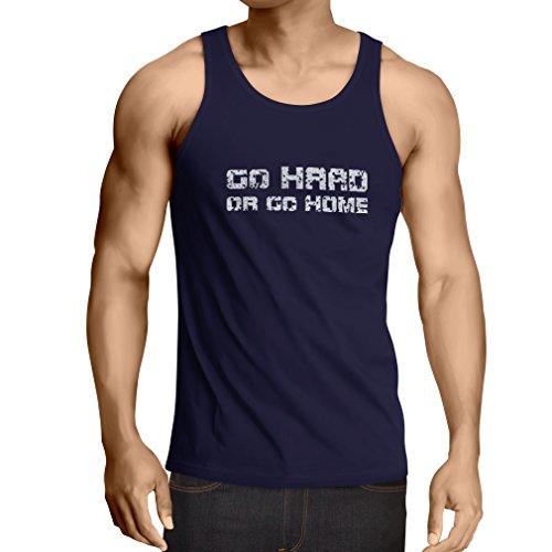 lepni.me Camisetas de Tirantes para Hombre ¡Go Hard or Go Home! - Refranes para Motociclistas, para Ciclistas, para Patinadores, Ciclistas (Medium Azul Multicolor)