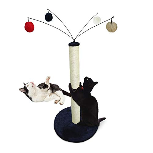 Furhaven Pet Cat Furniture - Tiger Tough Fuzz Ball Hanging Toy Cat Scratcher Post Entertainment Cat Tree Playground for Cats & Kittens, Blue