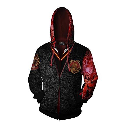 BATSDCB Gryffindor Ravenclaw Hufflepuff Slytherin Hoodie Cardigan,3D Print Sweatshirt Langarm Kapuzen Top,Unisex Reißverschluss Jacke Rot 3XL