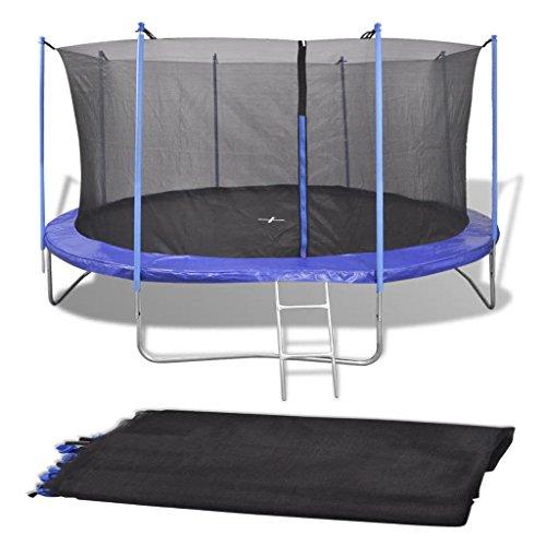 Luckyfu Rete di Sicurezza Rotonda per Trampolino 4,57 m PE Nero.trampolino elastico trampolino da giardino jump trampolino