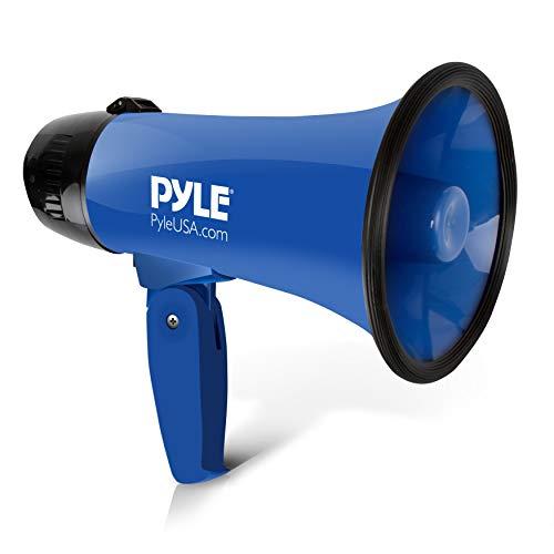 Pyle Altoparlante portatile megafono a corno di bue-Compatto e alimentato a batteria con 20 Watt di potenza, microfono, 2 modalità, suono PA e impugnatura pieghevole per cheerleading e uso di polizia