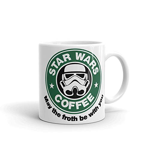 "Star Wars inspirierte Keramiktasse ""May The Foth Be with You"", Weiß, 313 ml"