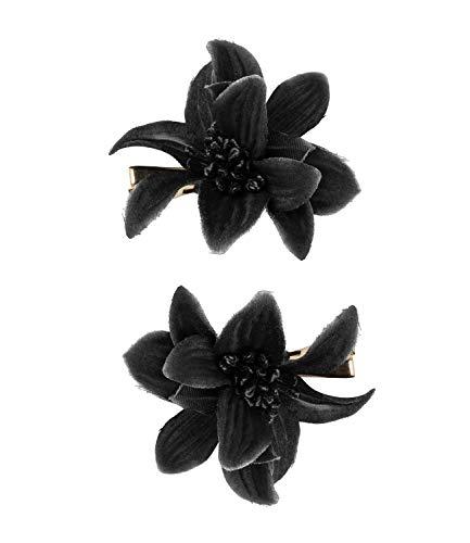 SIX Haarspange mit Lilie im 2er-Set [Damen Haarschmuck] - Haarclips » Haar Clips « Frauen Schmuck im Blumen Design - Haarklammer - Haarnadeln - Klammer - Haarspange - schwarz (488-704)