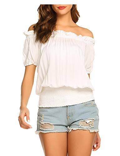 Women Casual Loose Pullover Chiffon Blouse Solid Off Shoulder T-Shirt White/S