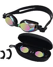 BEZZEE PRO Kinderzwembril - UV-bestendige lekvrije spiegelbril - gekleurde lens met opbergkoffer en 3 verwisselbare neusbruggen voor jongens en meisjes van 4 tot 12 jaar