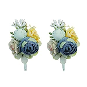USIX 2pc Pack-Handmade Artificial Peony Flower Wrist Corsage & Men's Lapel Boutonniere Pin for Wedding Party Prom Homecoming