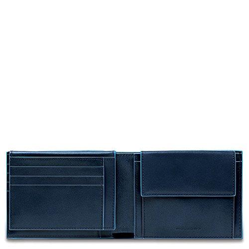 Piquadro Blue Square Portamonete con 7 Alloggiamenti per Carte di Credito, 12 cm, 0.43 litri, Blu Notte